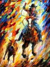 Pittore professionista Dipinto A Mano di Alta Qualità Cow Boy Occidentale della Pittura A Olio Su Tela di Canapa Moderna Astratta Cowboy della Tela di Canapa Pittura