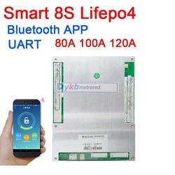 Inteligente 8 S 80A 100A 120A Lifepo4 de fosfato de ferro de lítio BMS placa de proteção da bateria W/balance APP Bluetooth UART 3.2 V * 8