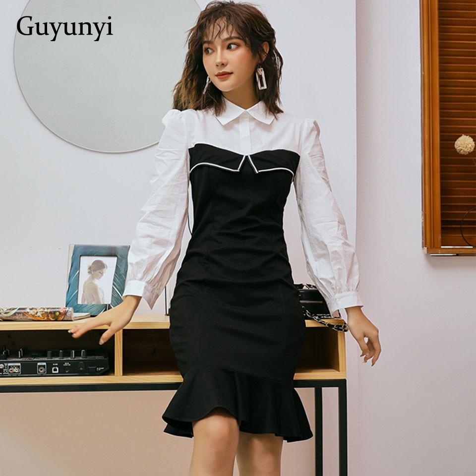 Vestido de mujer de oficina 2019 otoño negro blanco Patchwork Simple Turn-down Collar alta cintura elegante sirena Hem vestidos de mujer