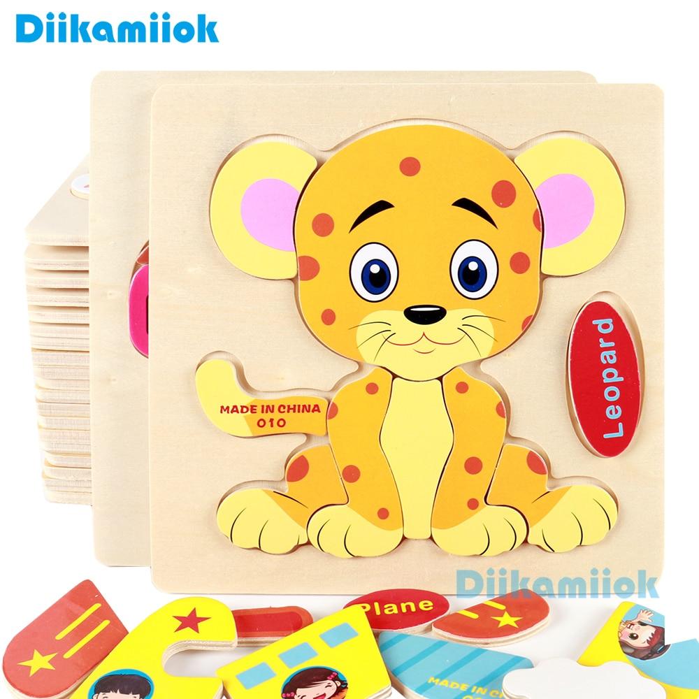 Holz 3D Puzzle Jigsaw Baby Lernen Spielzeug für Kinder Cartoon Tier Obst Puzzles Intelligenz Kinder Kinder Pädagogisches Spielzeug