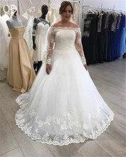 사용자 정의 만든 a 라인 긴 소매 tulle 레이스 구슬 플러스 크기 웨딩 드레스 2019 새로운 패션 웨딩 드레스 dw156