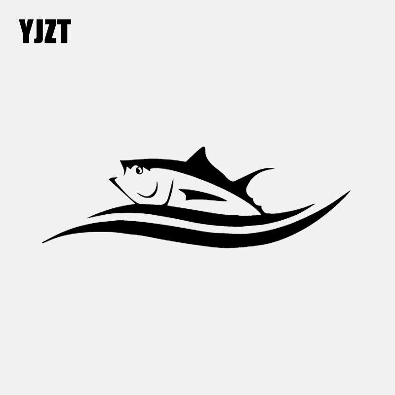 YJZT 17CM * 5,6 CM vinilo calcomanías dibujos animados pescado atún en olas coche pegatina negro/plata C24-0811