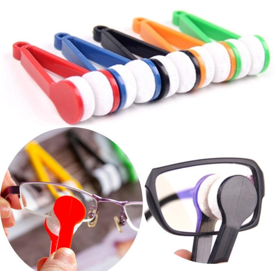 Hot Sale Portable Mini Microfiber Spectacles Sunglasses Glasses Eyeglass Cleaner Brush Cleaning Tool  Random Color