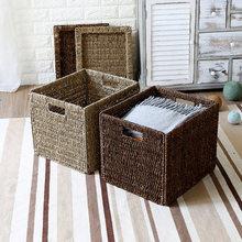 Natural straw storage cover Foldable storage basket Bookcase drawer type debris storage cover