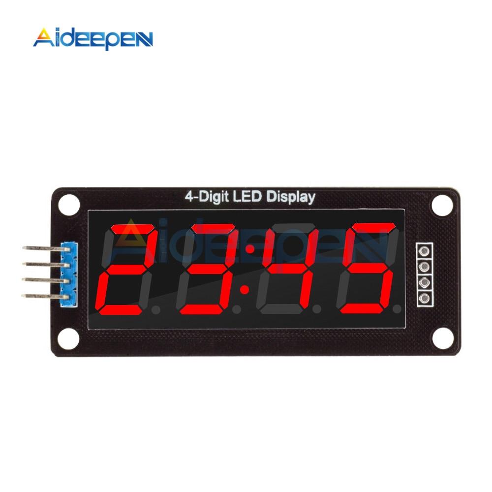 "5 uds TM1637 4 dígitos 0,56 ""tubo de pantalla LED rojo Decimal 7 segmentos reloj Módulo de puntos dobles 0,56 pulgadas para Arduino"