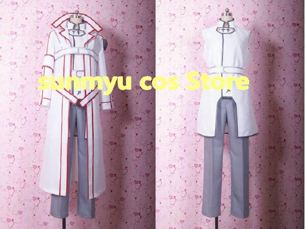 Free Shipping! Sword Art Online SAO Kirigaya Kazuto Kirito white Ketsumei Kishidan Cosplay Costume,Size customizable Halloween