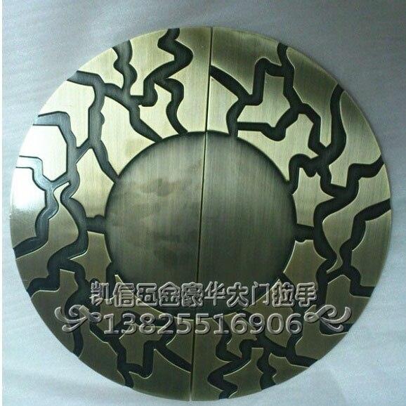 مقبض باب زجاجي نصف دائري منحوتة على شكل سحابة ميمون ، صينية برونزية