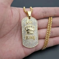 hip hop king crown pendant necklace stainless steel gold color iced out rhinestone charm necklace with 3mm box chain t1396