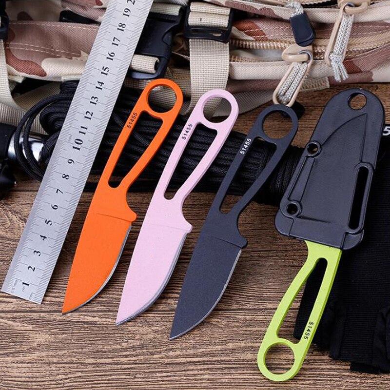 Nova pequena lâmina fixa faca reta, facas de sobrevivência ao ar livre protable, camping caça ferramenta de bolso com K Bainha 4 Cores