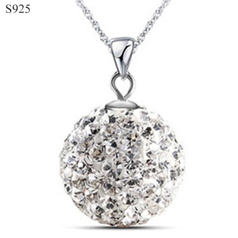 Colgante de plata sólida 925 puro auténtico para mujer, joyería fina, zirconia cúbica, bola de cristal, regalo, sin collar