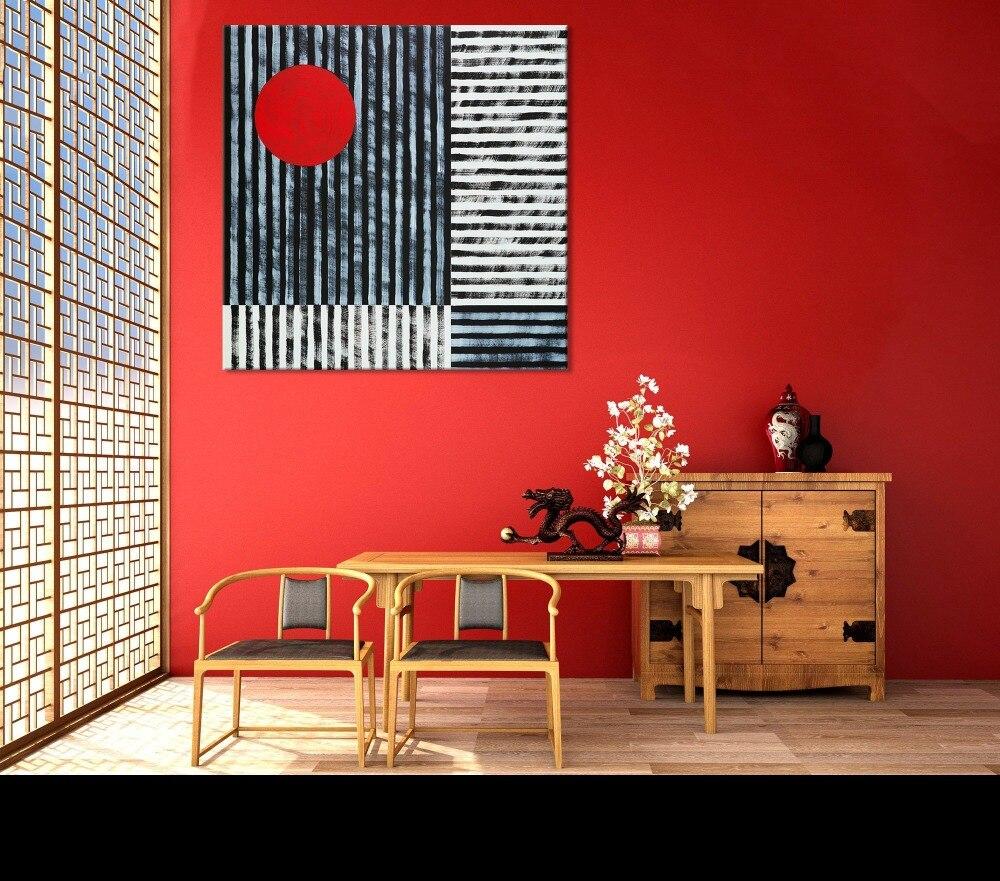 Lienzo pintura impresa decoración de pared/arte de pared roja y negra/Arte de acento rojo/Arte de estilo japonés