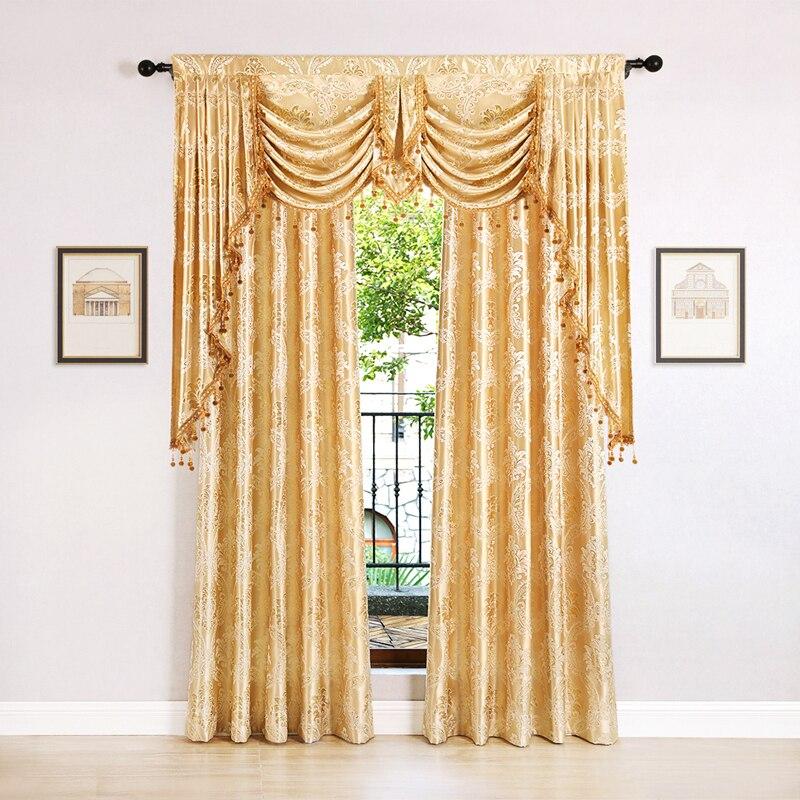 Europeu de ouro royal luxo cortinas para o quarto janela cortinas para sala estar (grommet topo, 1 peça)