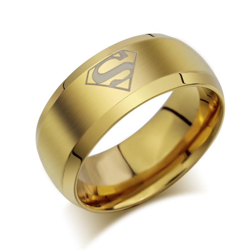 Anillos de Superman chapados en acero inoxidable de alta calidad, anillo con joya de moda para hombre, anillos joias ouro