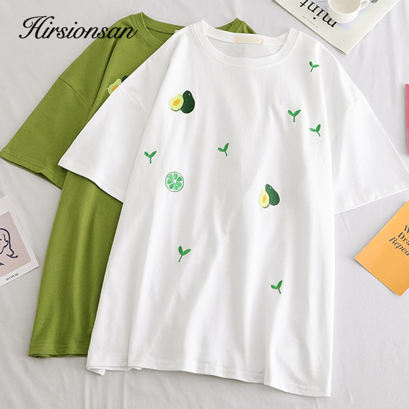 Hirsionsan, camiseta para mujer impresa, verano 2019, ropa coreana, camiseta para mujer, camisetas Harajuku, camisetas holgadas de cuello redondo, camiseta de manga corta