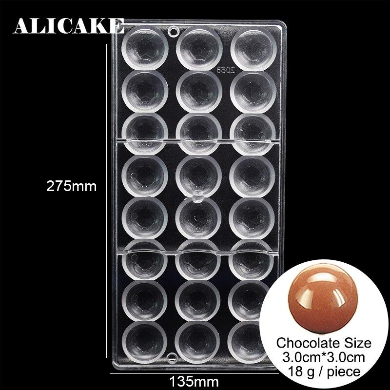 Bola de 18 agujeros 3D moldes de policarbonato para chocolates bandeja de plástico Chocolate forma de dulces hornear pastelería herramientas Pan hornear molde