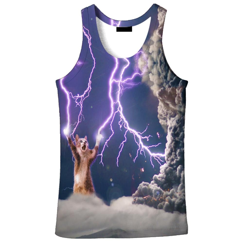 2019, gran oferta, nueva moda 3D, estampado de gato relámpago para hombres, 9 tallas, camiseta casual, impresión personalizada, envío gratis