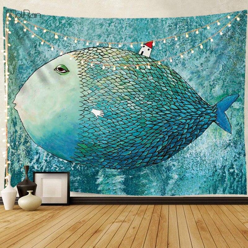 Bonito tapiz con motivo de peces, tapiz para colgar en la pared, manta de poliéster, colcha de Yoga, esterilla para adultos, tapiz de pared del dormitorio arte decorativa para pared