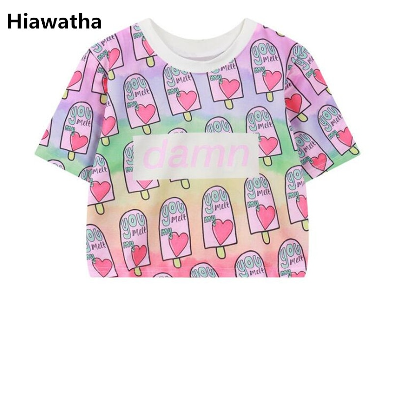 Hiawatha 2018 verano helado camiseta para mujer impresa Harajuku crop tops pantalón corto casual manga camisetas T2541