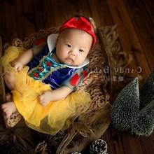 Newborn Photography Cartoon Clothes Props Infant Baby Photoshoot Snow White Headband+Princess Dress Costume fotografia Accessory
