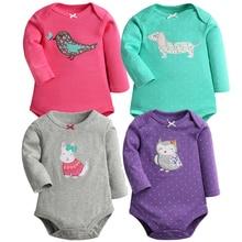 2 шт./лот, боди с длинными рукавами для маленьких девочек, хлопковые боди для маленьких девочек и мальчиков, комплекты одежды для новорожденных