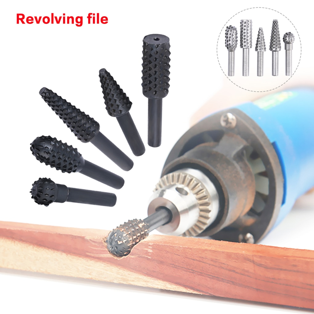 5pcs/set Woodworking Steel Rotary File Wood Carving Rasp Drill Bit Kit Rotating Embossed Grinding Head Power Tools