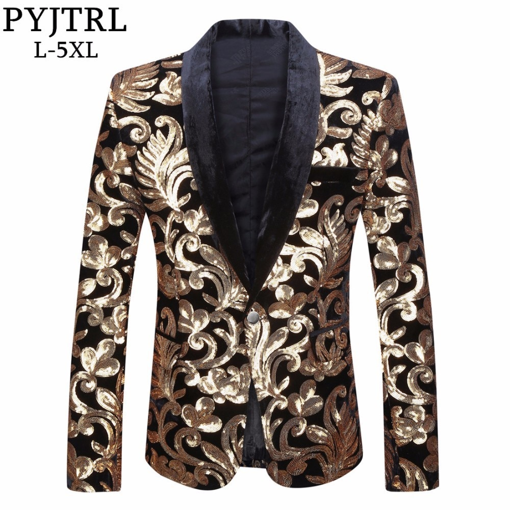 PYJTRL hombres chal solapa Blazer diseños de talla grande 5XL negro terciopelo oro flores traje con lentejuelas chaqueta escenario DJ Club cantante ropa
