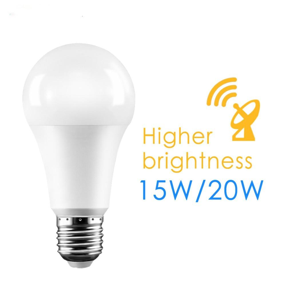 E27 15W 20W 110-265V Garden garage Radar Penetrate Light Lamp Radar Smart Auto Switch LED Light Bulb Dusk to dawn Motion Sensor