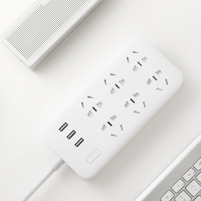 Оригинальный Xiaomi Smart Power Strip 2.1A Быстрая зарядка 3 USB удлинитель штепсельная вилка 6 стандартных розеток адаптер US UK EU AU