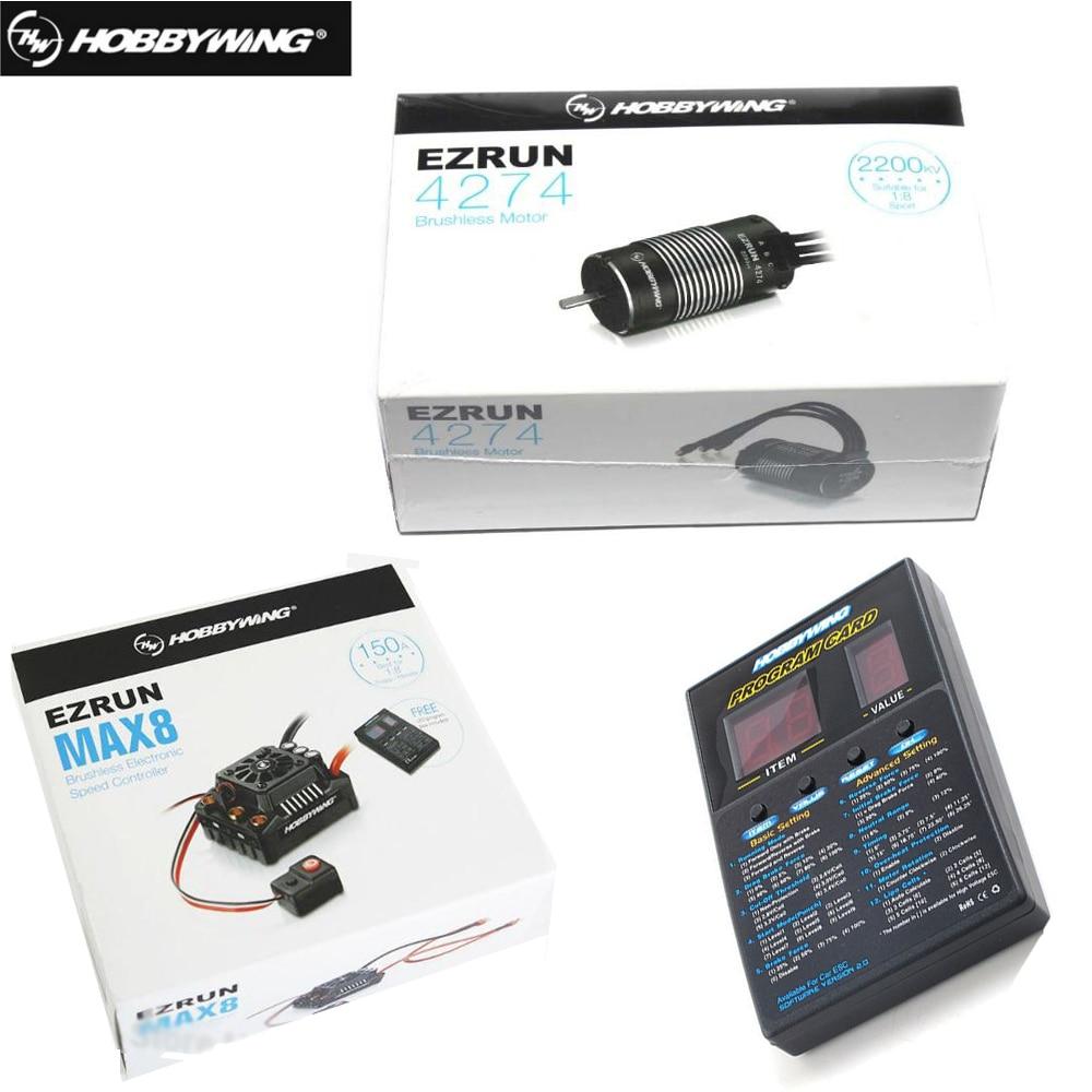 Hobbywing-بطاقة برمجة سيارة التحكم عن بعد ، EzRun Max8 v3 ، مقاوم للماء ، بدون فرش ، ESC T / TRX Plug 4274 2200KV ، 1/8