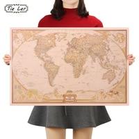 TIE LER Vintage Retro Matte Kraft Paper World Map Antique Poster Wall Sticker Home Decora 72*47CM