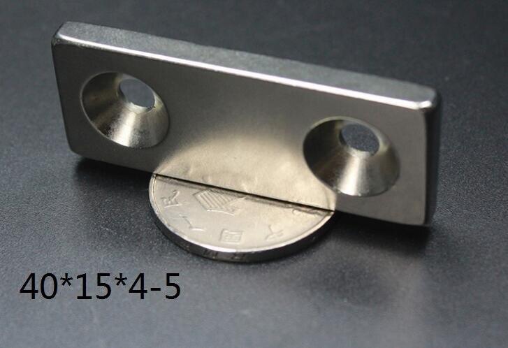 2 unids/lote F 40x15x4 Doble agujero 5 N38 fuerte mm cuadrado NdFeB imán de tierras raras 40*15*4 imanes de neodimio