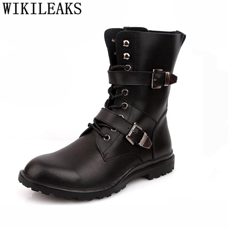 Cowboy Boots Mens Designer Shoes Genuine Leather Boots Men Winter Shoes Men Ankle Boots Brand Military Shoes Big Size Ayakkabi