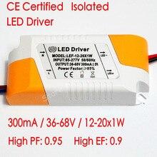 CE Sertifikalı Izole 300mA 12-20x1W Led Sürücü 12 W/15 w/18 W/20 w Güç Kaynağı DC 36 V-68 V AC 110 V 220 V LED ışıkları