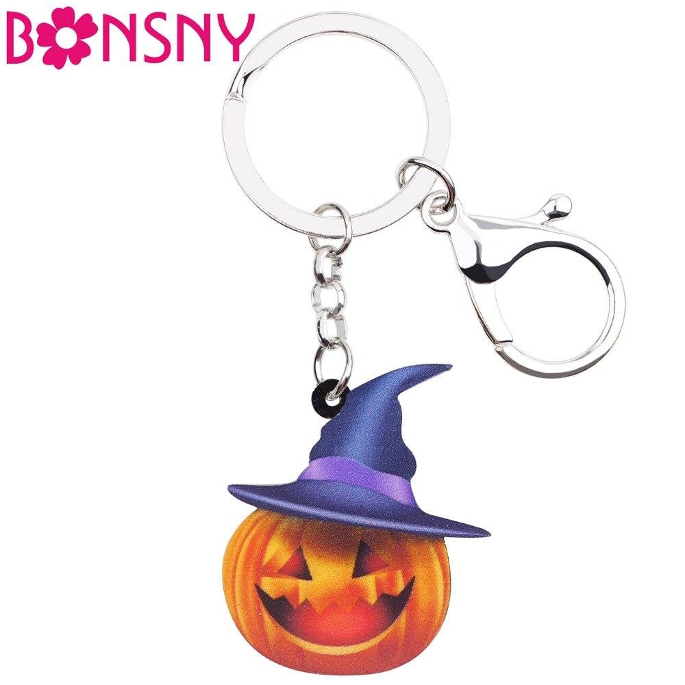 Bonsny Acrílico Halloween Louco Chapéu Abóbora Chaveiros Chaveiros Novidade Presente Jóias Para As Mulheres Meninas Senhoras Bolsa Encantos Adolescentes