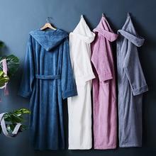 Five-star hotel Winter Thick pure cotton bathrobes sleepwear robes Unisex long-sleeve absorbent terry bathrobe hooded pijamas