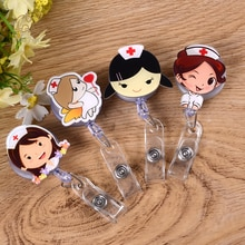 1pc mignon dessin animé infirmière médecin forme rétractable Badge bobine Kawaii étudiants infirmière exposition tirer clé ID nom carte porte-Badge