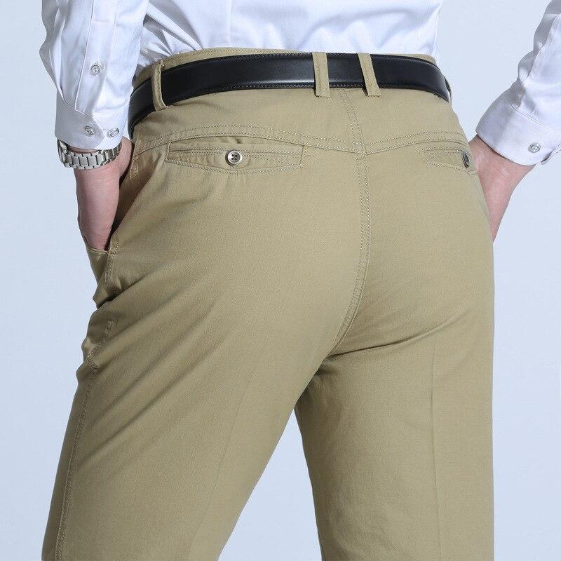 Gran oferta, pantalones informales de marca para hombre, moda clásica, vestido ajustado, traje plano, pantalones para hombre, ropa Formal de negocios de algodón para hombre