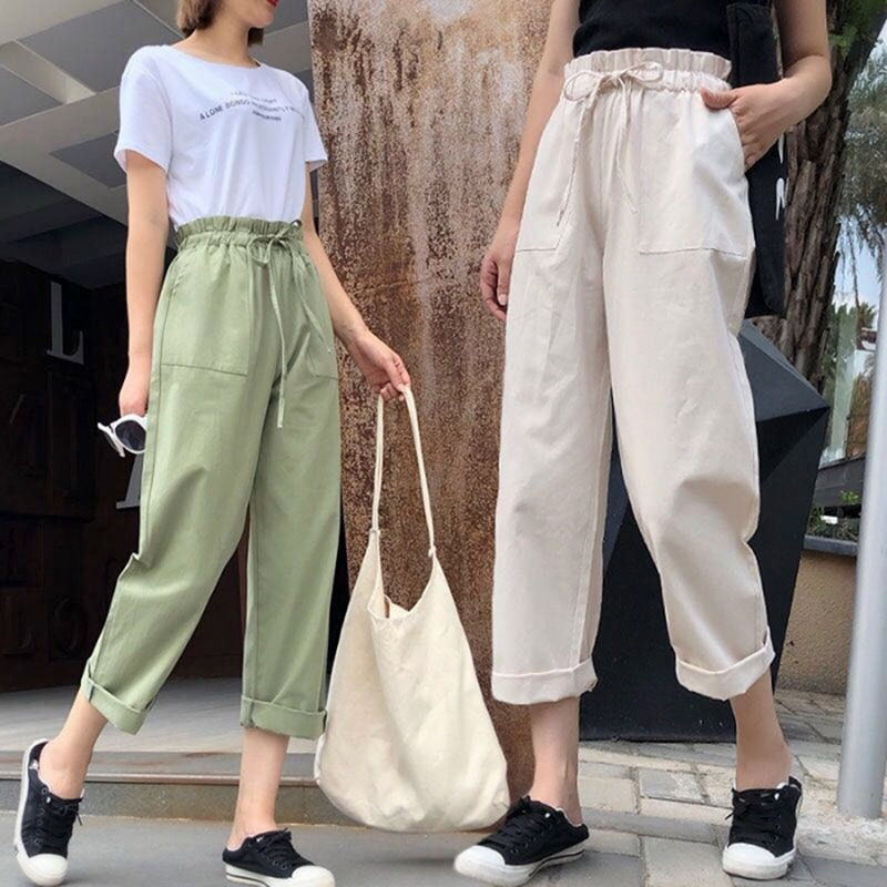 Loose Light Cotton Casual Style Female Pants Streetwear Sporty Regular Drawstring Elastic Waist Trou