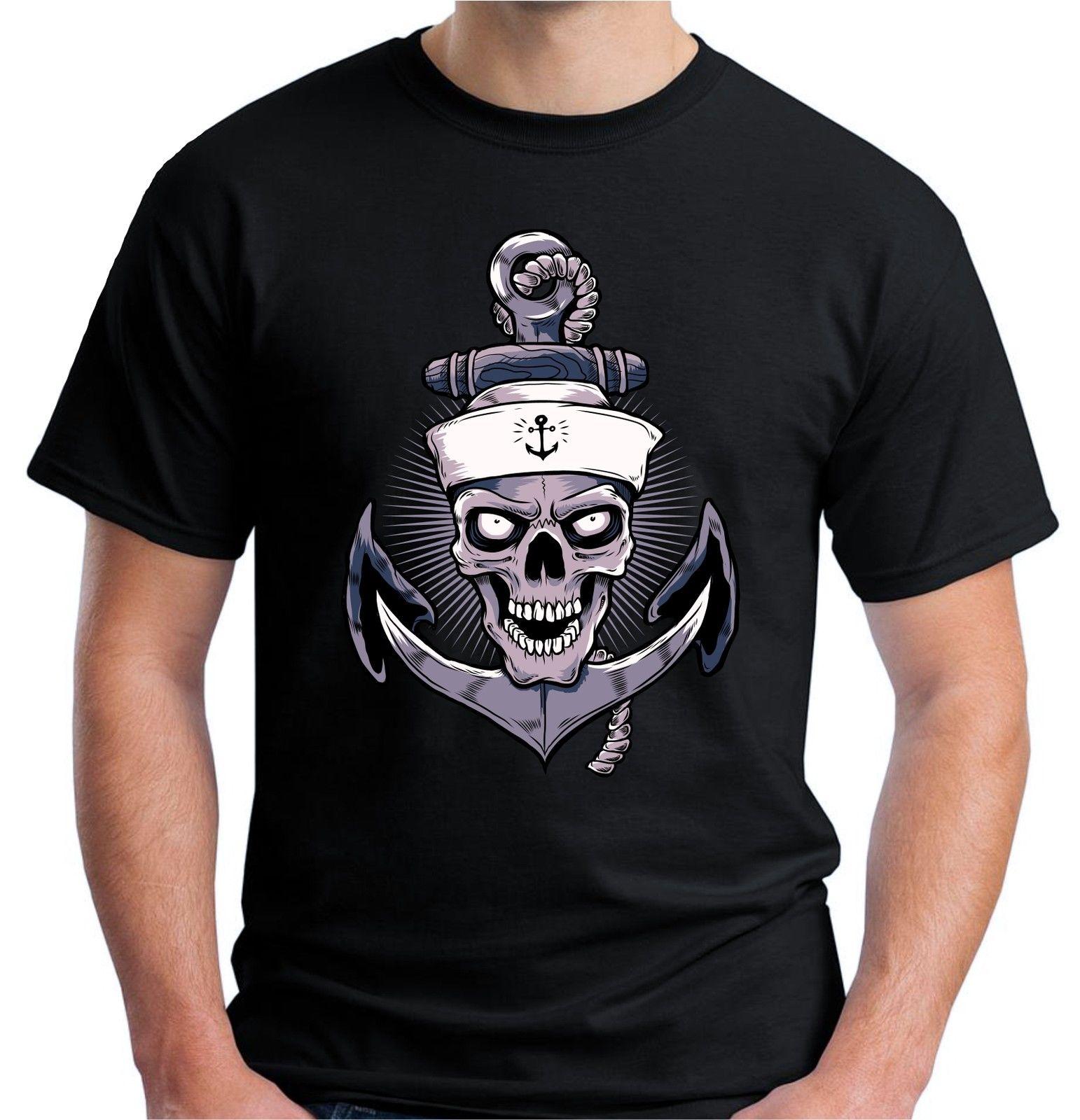 Camiseta de manga corta de algodón con estampado de ancla y calavera Retro de marinero tatuaje Hardy Jerry 100%
