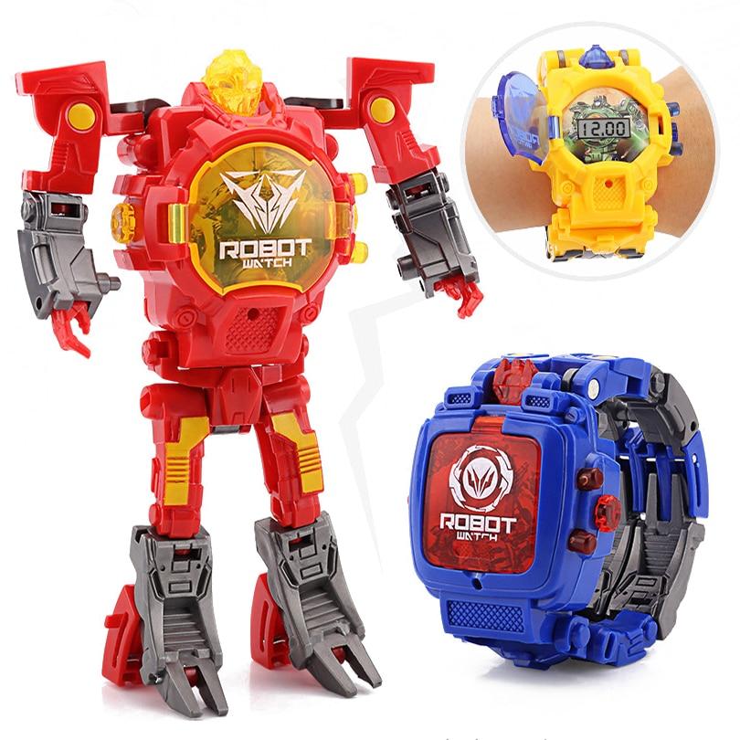 Cartoon Transformation Wristwatch Toy Creative Electronic Robot Watch for Boy Children Deform Robot Sport Watch Toy Xmas Gift