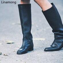 Женские черные сапоги до колена с круглым носком, Дамская зимняя Винтажная обувь на плоской подошве в стиле ретро, женские высокие сапоги в ...