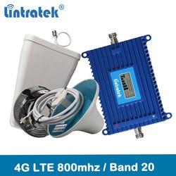 Lintratek 4g lte 800 repetidor de sinal banda 20 4g rede 800mhz impulsionador de sinal móvel 70db ganho display lcd 4g amplificador kit @ 6.7