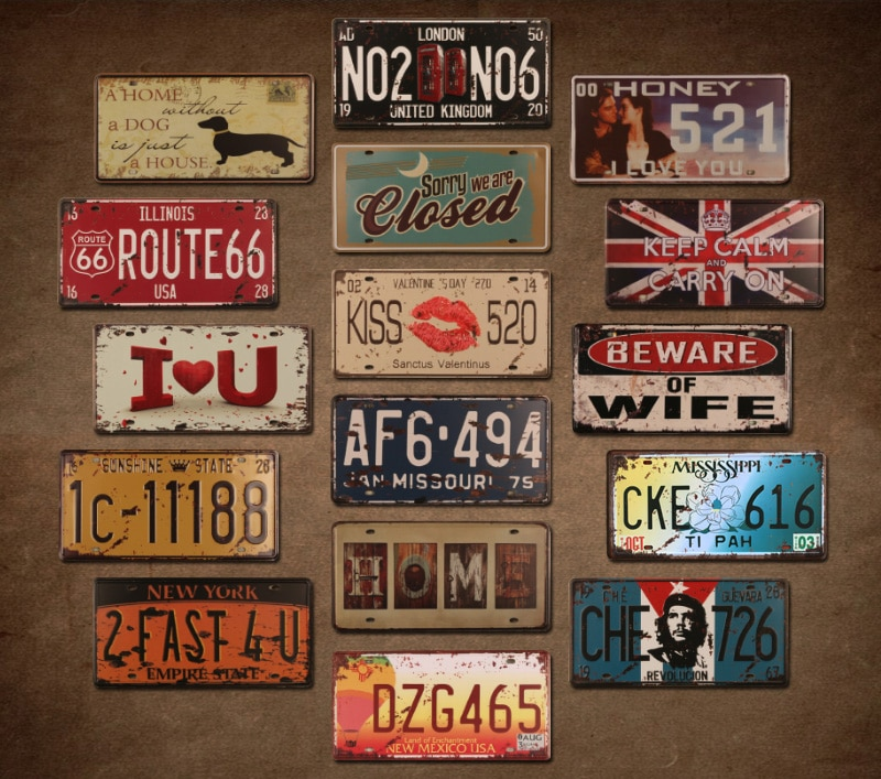 Motorräder Bar Auto Anzahl Lizenz Metall Zinn Zeichen Vintage Wohnkultur Malerei Bar Garage Cafe Wand Poster Eisen Platte Plaque