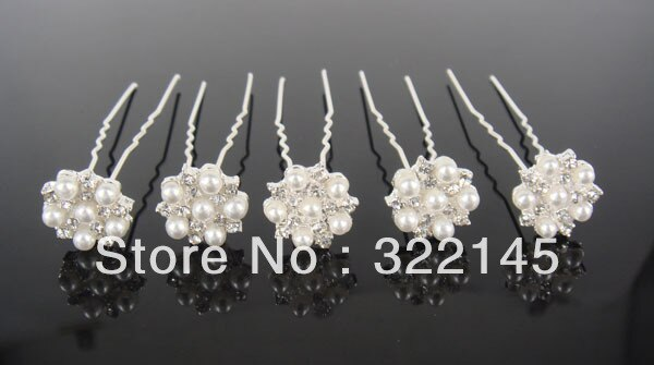 30Pcs Wedding Bridal Pearl & Crystal Snow Flower Hair Pins New Free Shipping