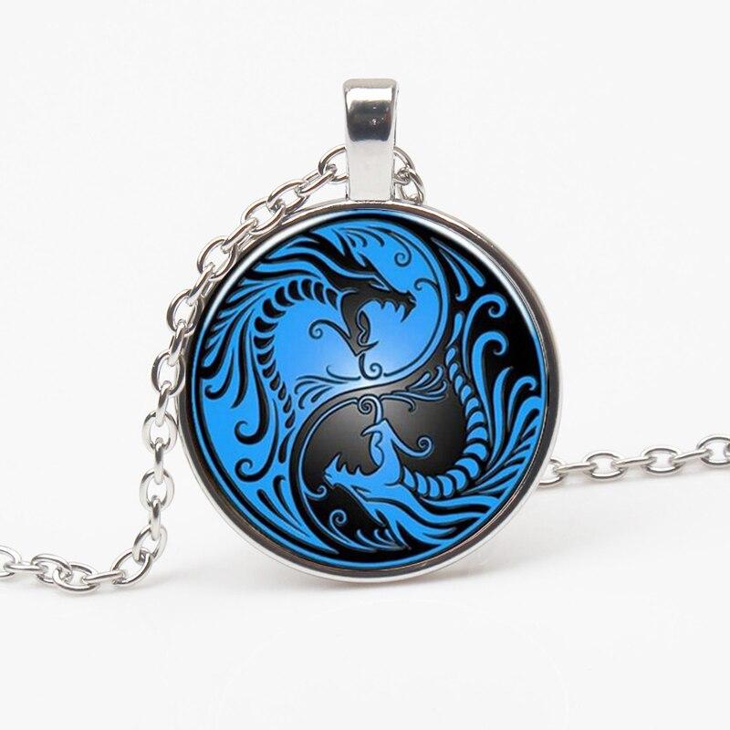 Vintage Blue Dragon and Yin Yang Taiji Religious Pendant Necklace Glass Necklace European New Men Women Jewelry Gift Souvenir