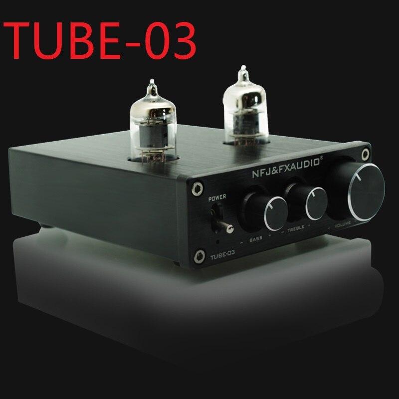 2019 fx-áudio novo tubo-03 mini tubo de áudio pre-ampères dac áudio com baixo/agudos ajustável dc12v/1.5a fonte de alimentação