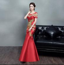 Broderie royale rouge Phoenix Cheongsam robe de mariée sirène mariée Cheongsam robe de soirée chinoise