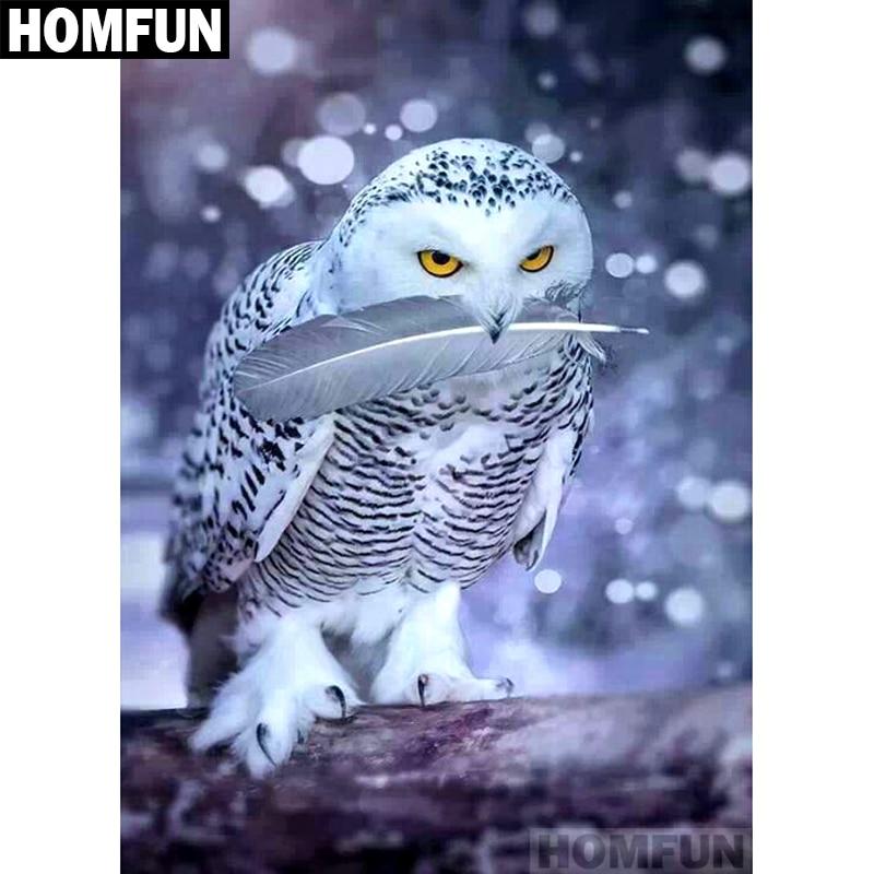 """HOMFUN Completo Quadrado/Rodada Broca 5D DIY Pintura Diamante de neve """"coruja"""" 5D Bordado Ponto Cruz Decoração de Casa presente A01199"""