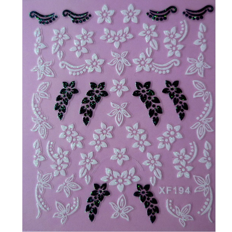 Green 3D DIY Flower Design Water Transfer Nails Art Sticker Lady Women Manicure Tools Nail Wraps Dec