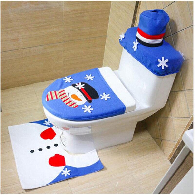 Juego De 3 unidades De baño De Navidad, alfombra con cubierta para...